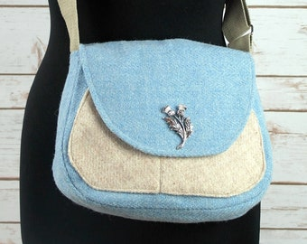 Bella - Baby Blue Herringbone Harris Tweed Cross Body Bag