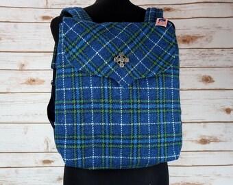 Beulah - Blue Tartan Harris Tweed Backpack
