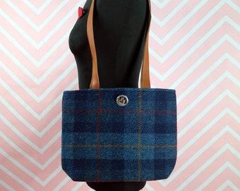 Endora - Blue Tartan Harris Tweed Tote Bag - Handmade Handbag - Shoulder Bag - Casual Bags - Gift for her