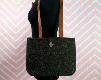 Endora - Brown Herringbone Harris Tweed Tote Bag - Handmade Handbag - Shoulder Bag - Casual Bags - Gift for her