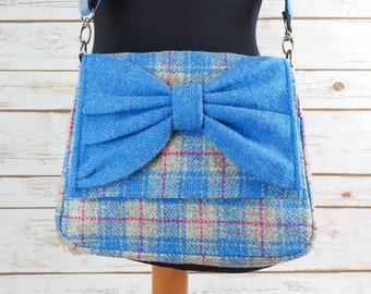 Juliette - Blue and Grey Tartan Harris Tweed Cross Body Bag with bow