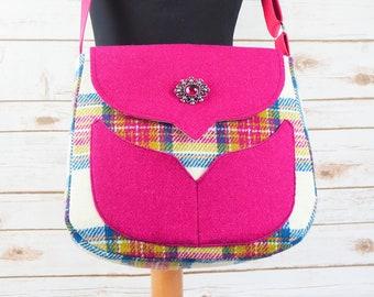 Myrtle - Pink Tartan Harris Tweed Bag with Cross Body Strap