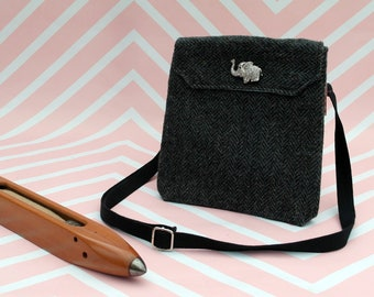 Verity -  Grey Herringbone Harris Tweed cross body handbag - Bum bag - Fanny Pack - Dog Walking Bag