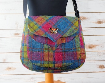 Myrtle - Pink and Blue Tartan Harris Tweed Bag with Cross Body Strap