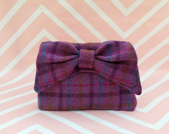 Audrey - Purple Harris Tweed Clutch Bag - evening purse - bow - formal - handmade