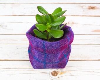 Small Fabric Pot in Purple Tartan Harris Tweed