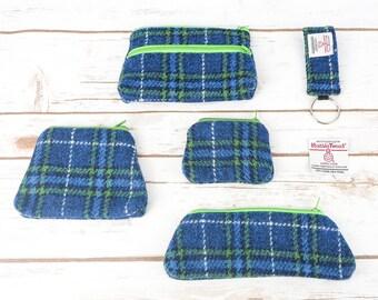 Blue Green Tartan Harris Tweed Accessories - Coin Purse, Pen/ Glasses Case, Keyring