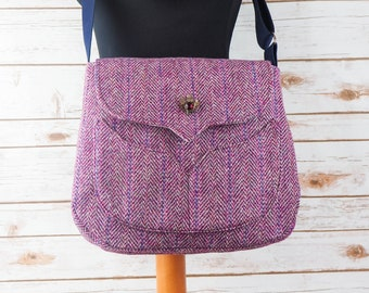 Myrtle - Lilac/ Purple Herringbone Harris Tweed Bag with Cross Body Strap