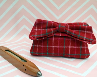 Katharine - Red Check Harris Tweed Clutch Bag - evening purse - bow - formal - handmade