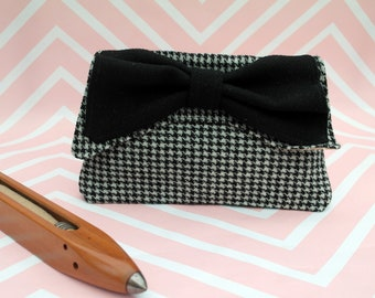 Katharine - Black Houndstooth Check Harris Tweed Clutch Bag - evening purse - bow - formal - handmade