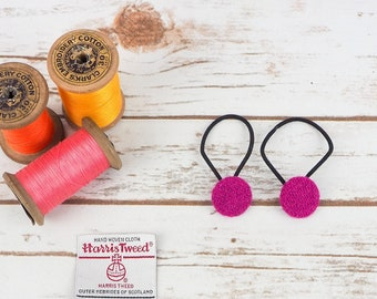 Pink Twill Harris Tweed Button Hair Bobbles