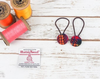 Red Tartan Harris Tweed Button Hair Bobbles