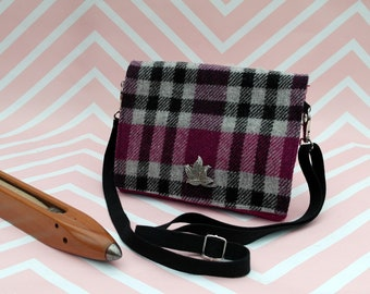 Jane - Pink Tartan Harris Tweed Cross Body Bag - Handmade Handbag - Shoulder Bag- Casual Bags- Gift for her - Vintage Brooch