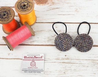 Grey Herringbone Harris Tweed Button Hair Bobbles