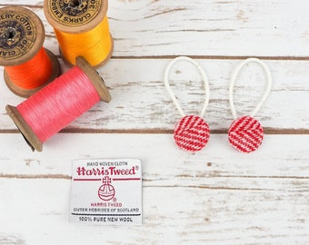 Red & Pink Herringbone Harris Tweed Button Hair Bobbles