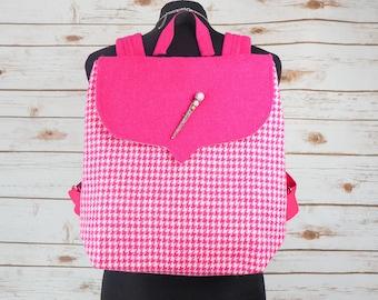 Beulah - Pink Houndstooth Harris Tweed Backpack
