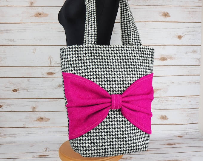 Featured listing image: Esme - Houndstooth and Pink Harris Tweed Tote Bag - Handmade Handbag - Shoulder Bag - Casual Bags - Gift for her