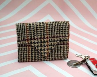 Ladies Brown Check Harris Tweed wallet with coin section - money organiser - foldover wallet - purse