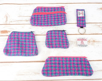 Pink & Purple Houndstooth Harris Tweed Accessories - Coin Purse, Pen/ Glasses Case, Keyring