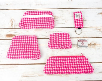 Pink & White Houndstooth Harris Tweed Accessories - Coin Purse, Pen/ Glasses Case, Keyring