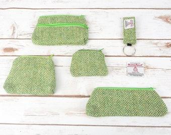 Green Herringbone Harris Tweed Accessories - Coin Purse, Pen/ Glasses Case, Keyring