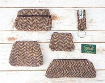 Brown Herringbone Donegal Tweed Accessories - Coin Purse, Pen/ Glasses Case, Keyring