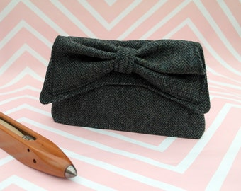 Katharine - Grey Herringbone Harris Tweed Clutch Bag - evening purse - bow - formal - handmade