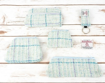 Aqua Blue Herringbone Harris Tweed Accessories - Coin Purse, Pen/ Glasses Case, Keyring