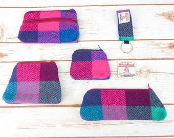 Pink Purple Herringbone Block Check Harris Tweed Accessories - Coin Purse, Pen/ Glasses Case, Keyring