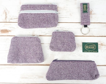 Purple Herringbone Donegal Tweed Accessories - Coin Purse, Pen/ Glasses Case, Keyring
