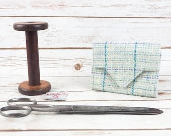 Blue Herringbone Harris Tweed Small Ladies Wallet with Coin Section