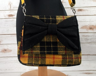 Juliette - Yellow Tartan Harris Tweed Cross Body Bag with bow - Handmade Handbag - Messenger Bag - Casual Bags - Gift for her