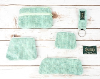 Green Herringbone Donegal Tweed Accessories - Coin Purse, Pen/ Glasses Case, Keyring