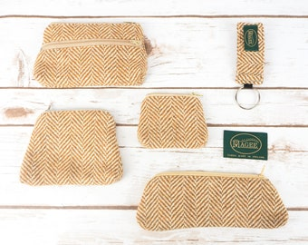 Caramel Gold Herringbone Donegal Tweed Accessories - Coin Purse, Pen/ Glasses Case, Keyring