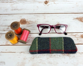 Harris Tweed Pencil Case - Glasses Case - Crochet Hooks pouch - Manicure pouch - Small Make up bag - Sewing Pouch- Cosmetic Case