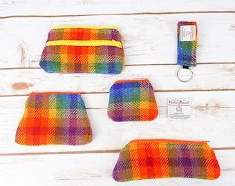Rainbow Check Tartan Harris Tweed Accessories - Coin Purse, Pen/ Glasses Case, Keyring