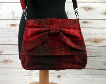 Juliette - Red Tartan Harris Tweed Cross Body Bag with bow - Handmade Handbag - Messenger Bag - Casual Bags - Gift for her