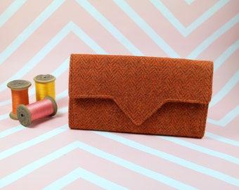 Ladies Orange Herringbone Harris Tweed wallet with coin section - money organiser - foldover wallet - purse