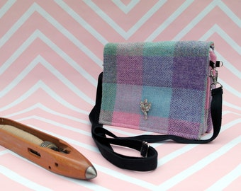 Jane - Pastel Check Harris Tweed Cross Body Bag - Handmade  Handbag - Shoulder Bag - Casual Bags - Gift for her - Vintage Brooch