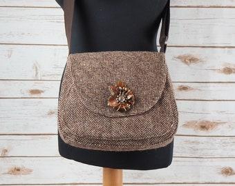 Bella - Brown Herringbone Harris Tweed Cross Body Bag - Handmade Handbag - Shoulder Bag - Casual Bags - Gift for her - Vintage Buttons