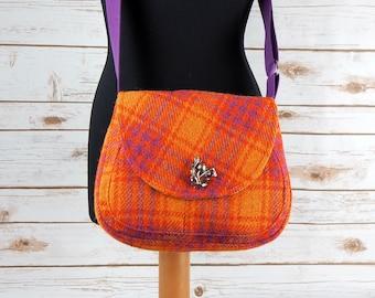 Bella - Orange Pink Check Harris Tweed Cross Body Bag