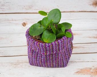 Small Fabric Pot in Purple Stripe Harris Tweed