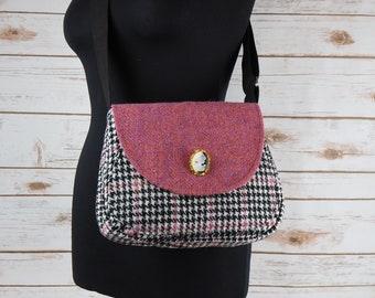 Bella - Pink & Houndstooth Harris Tweed Cross Body Bag - Handmade Handbag - Shoulder Bag - Casual Bags - Gift for her - Vintage Buttons