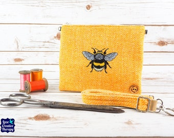 Greta - Yellow Harris Tweed Cross Body/ Clutch Bag with Embroidered Bumblebee
