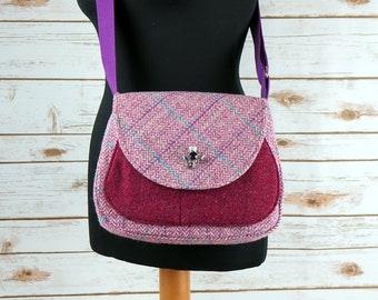 Bella - Pink Herringbone Harris Tweed Cross Body Bag - Handmade Handbag - Shoulder Bag - Casual Bags - Gift for her - Vintage Buttons