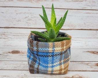 Small Fabric Pot in Beige, White & Blue Tartan Harris Tweed