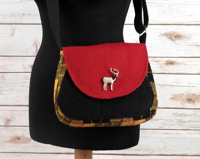 Featured listing image: Bella - Yellow & Black Tartan Harris Tweed Cross Body Bag - Handmade Handbag - Shoulder Bag - Casual Bags - Gift for her