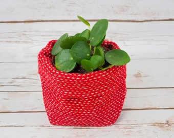 Small Fabric Pot in Red with White Stripe Harris Tweed