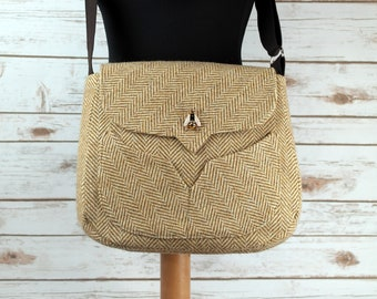 Myrtle - Caramel Herringbone Donegal Tweed Cross Body Bag - Handmade Handbag - Messenger Bag - Casual Bags - Gift for her - Vintage Brooch