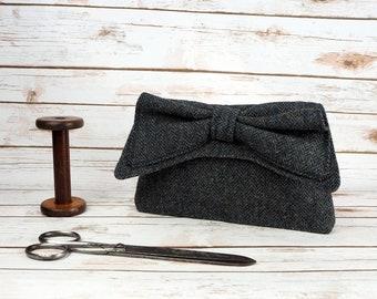 Katharine - Grey Herringbone Harris Tweed Clutch Bag